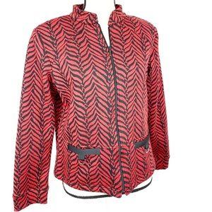 Rafael Sport Red Zebra Stripe Print Blazer Jacket